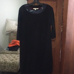 Boden black knit dress with sequined collar